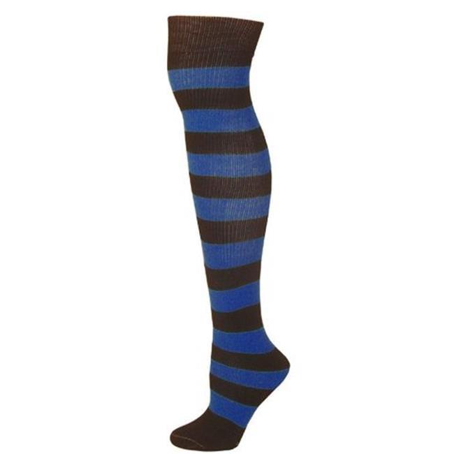 AJs A51249 Adults Striped Knee Socks - Black-Blue