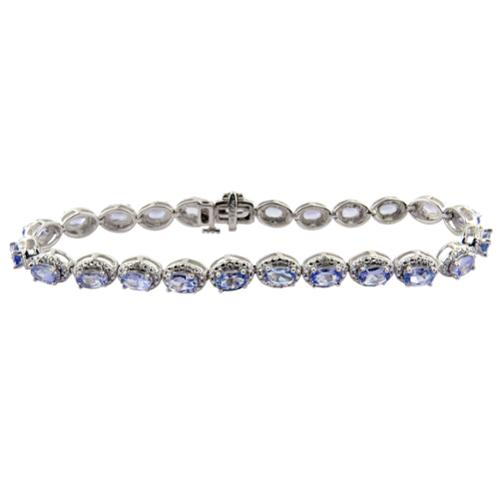 Divina 10k White Gold 1 1 6ct TDW White Diamond and Tanzanite Gemstone Bracelet (G-H, I1-I2) by Overstock