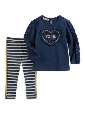 Juicy Couture Girls 12-24 Months Ruffle Heart Legging Set (Navy 24 Months)