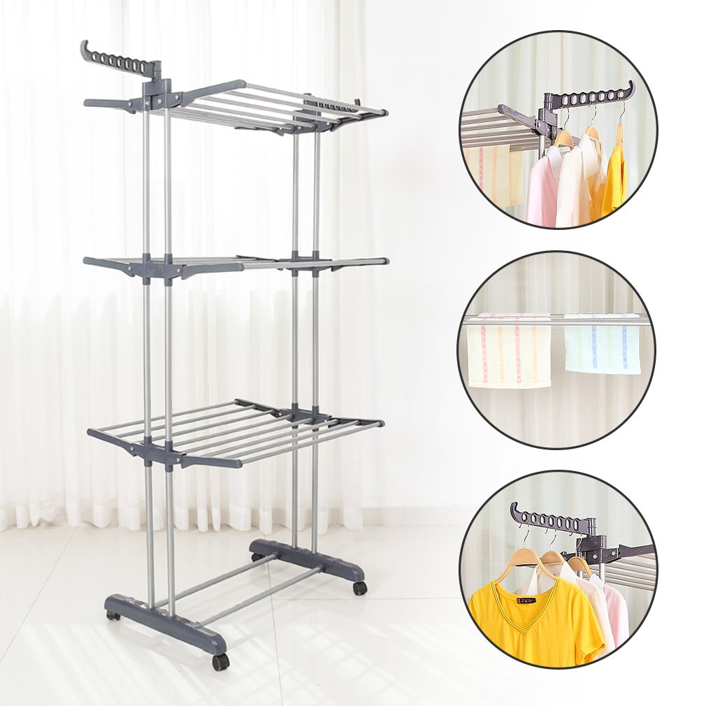 Multifunctional Indoor Outdoor Folding Laundry Storage Rack Clothes Drying Rack Dryer Garment Hanger Stand