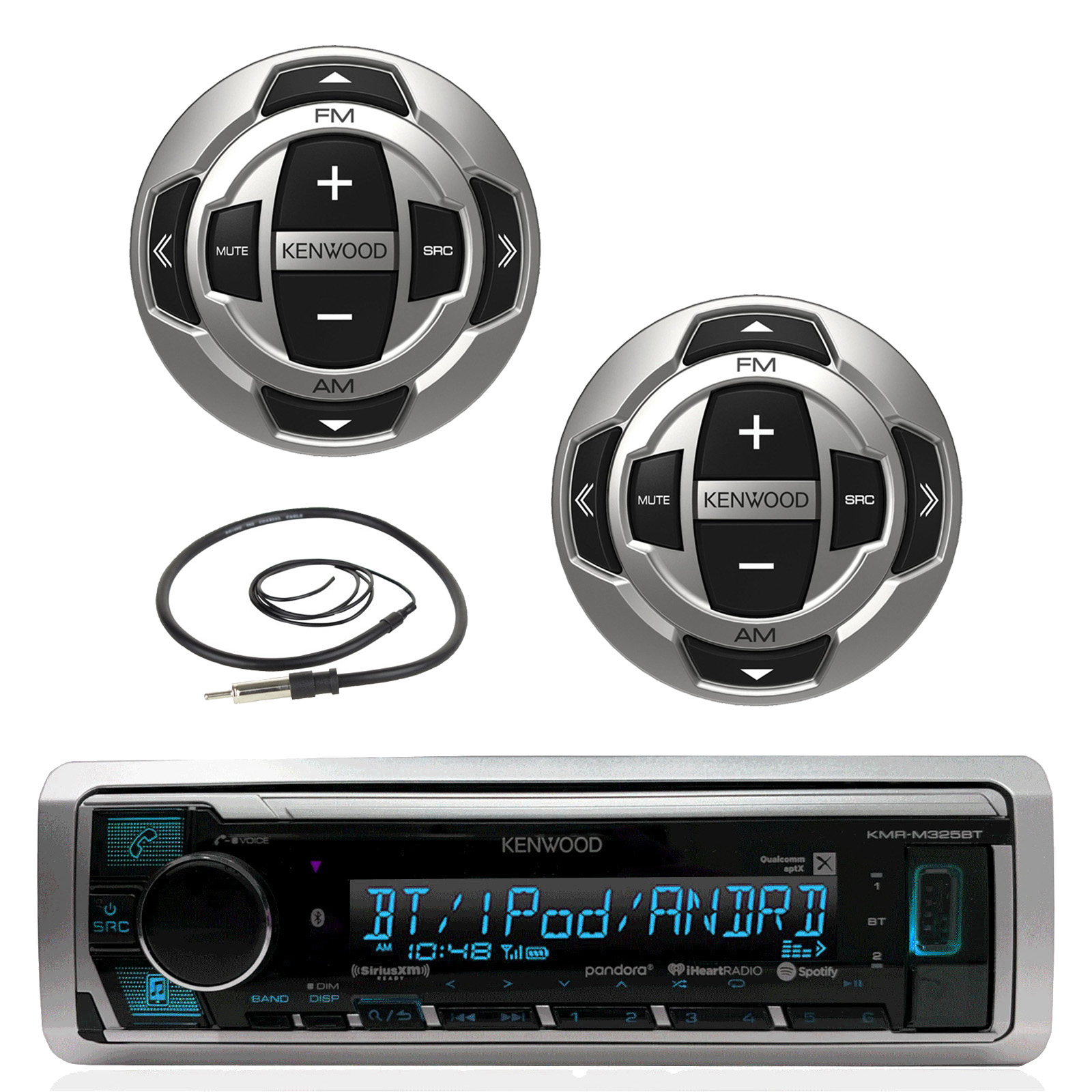 "Kenwood Marine Boat Yacht Digital Media USB AUX Bluetooth Stereo Receiver (No CD), 2x Kenwood Wired Remote, 22"" Enrock AM/FM Antenna"