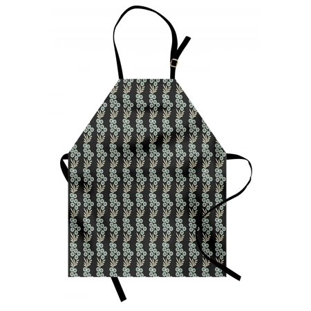 Floral Apron Vertical Ornamental Leaves on Branches with Black Backdrop Spring Theme, Unisex Kitchen Bib Apron with Adjustable Neck for Cooking Baking Gardening, Black Pale Blue Cream, by Ambesonne