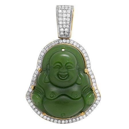 10K Yellow Gold Diamond Synthetic Jade Buddha Pendant 1.33 CT 2