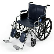 "Medline Extra-Wide 20"" Wheelchair, Elevating Legs, 500 lb Weight Cap"