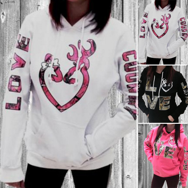Long Sleeve Hooded Pullover Pocket Cotton Blends Letter Printed Women's Hoodies