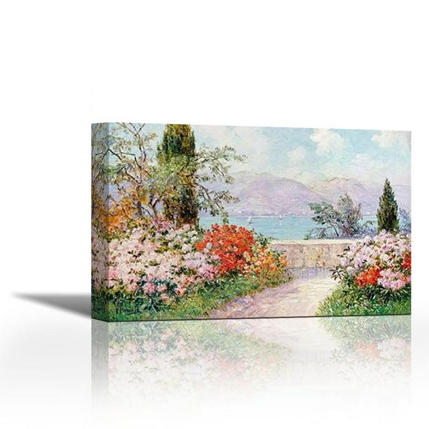 The Gardens Of The Villa Melzi On Lake Como Contemporary Fine Art Giclee On Canvas Gallery Wrap Wall Décor Art Painting 36 X 24 Inch Ready To Hang Walmart Com Walmart Com
