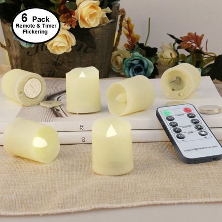 LED Tea Lights Flameless Candles Electric Tealights with Remote and Timer Unscented Outdoor Flickering Votive Lights 6/9/12 Pack 1.8 Inch