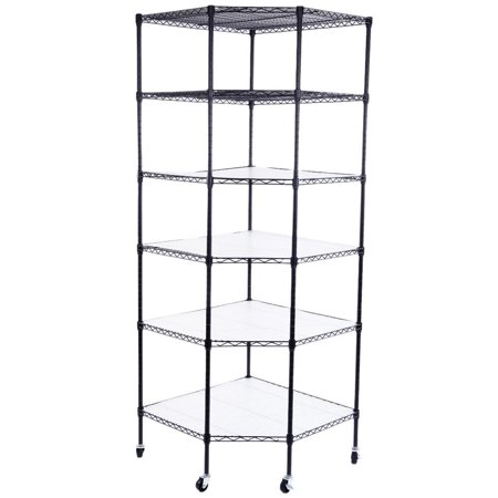 Ktaxon 6-Tier Wire Shelving Rack Corner Unit Storage Adjustable Shelf Commercial Black