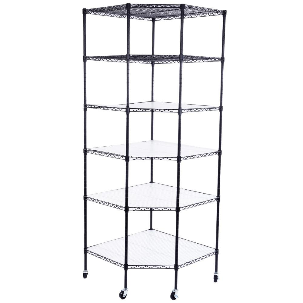 Ktaxon 6-Tier Wire Shelving Rack Corner Unit Storage Adjustable Shelf Commercial Black