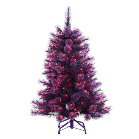 4 pre lit purple grape cashmere pine artificial christmas tree purple lights