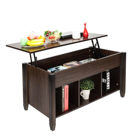 - Zimtown Lift Top Coffee Table Modern Living Room Furniture with Hidden Compartment and Lift Tabletop (Brown)