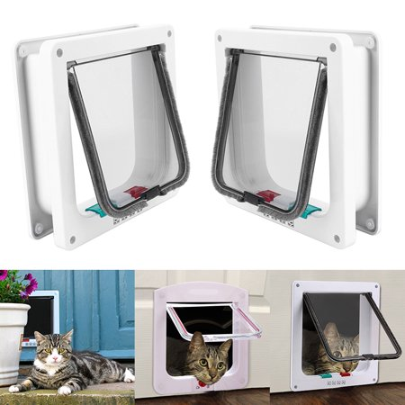 Medium Dog Door - 4 Way Small Medium large Pet Cat Kitten Dog Supply Lock Lockable Safe Flap Door
