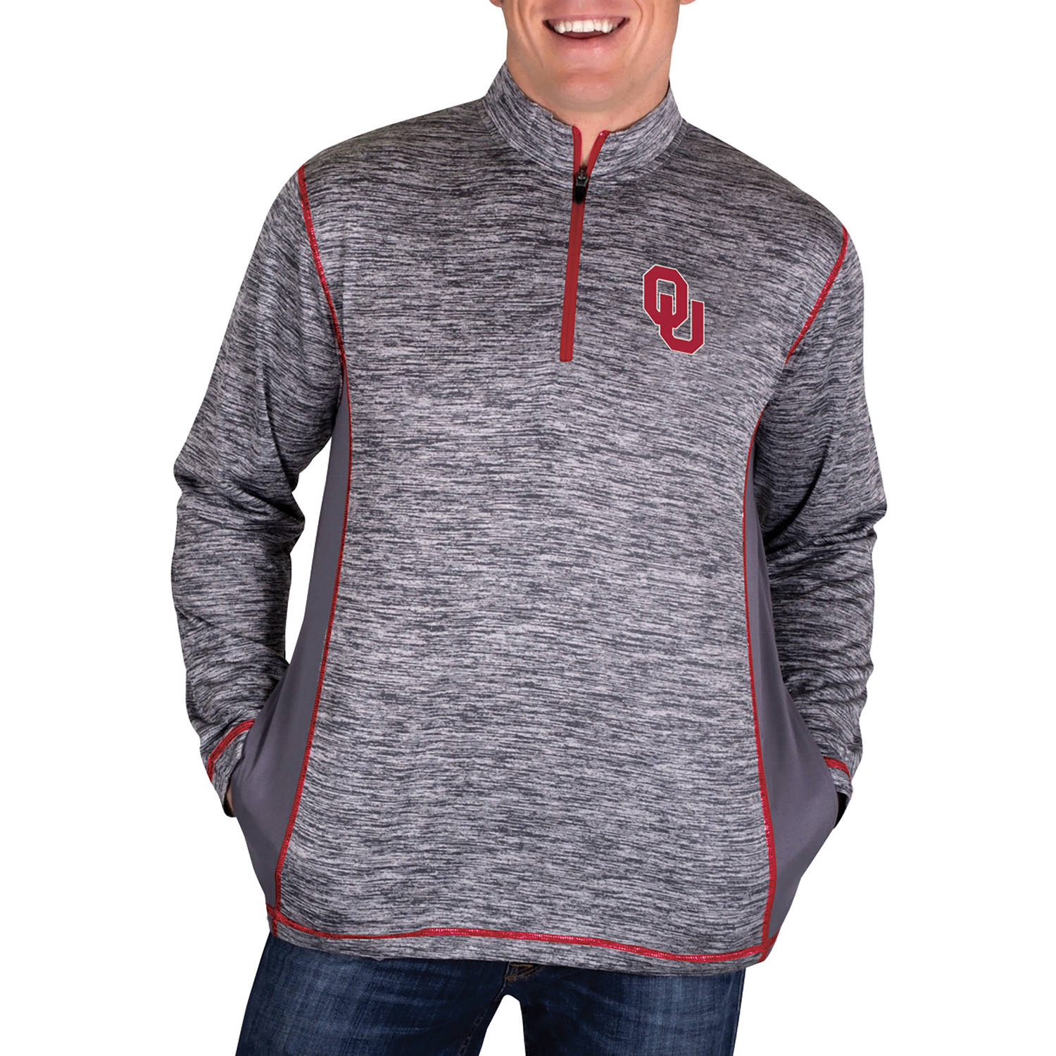 NCAA Oklahoma Sooners Men's 1/4 Zip Athletic-Fit Fitness Jacket