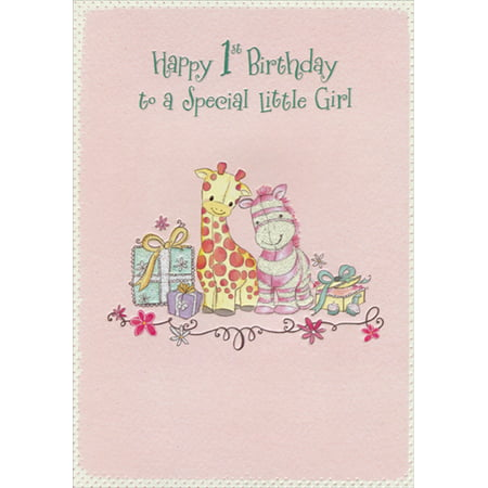 Birthday Present Card (Designer Greetings Stuffed Giraffe and Donkey with Presents Age 1 / 1st Birthday Card for Girl)