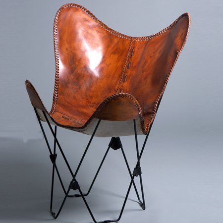 MADE USA GENUINE LEATHER BUTTERFLY CHAIR FOLDING LOUNGE MODERN SLING ACCENT SEAT ()