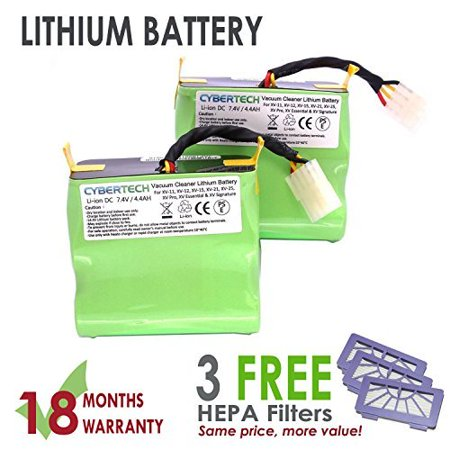 Lithium Neato VX 4400mAh Replacement Battery for Neato XV series Signature XV Pro Robotic Vacuum Cleaner,Super Extended Long-Life battery with 3 FREE HEPA Filter - UL&CE Certified Battery Component