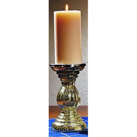 Large Silver Mercury Glass Candlestick Candle Holder