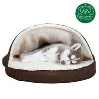FurHaven Orthopedic Round Sheepskin Burrow Pet Dog Bed, Small, Espresso