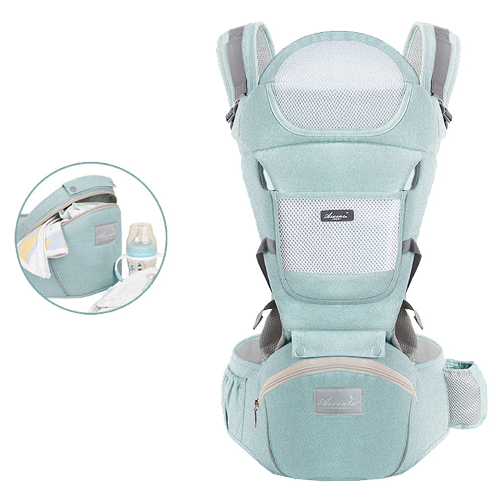 Newborns Baby Front Back Hip Seat Carrier Backpack With Hood for Infants Toddler