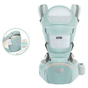 Baby Carrier 4-in-1 Convertible Ergonomic Baby Carrier with Kangaroo Bag, Breathable Front Facing Baby Carrier Infant backpack Pouch Wrap Baby Sling for Newborns, Green