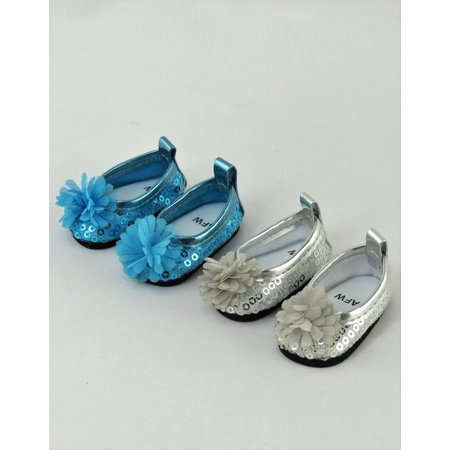2 Pack of Flower and Sequin Flats: Teal and Silver| Fits 14