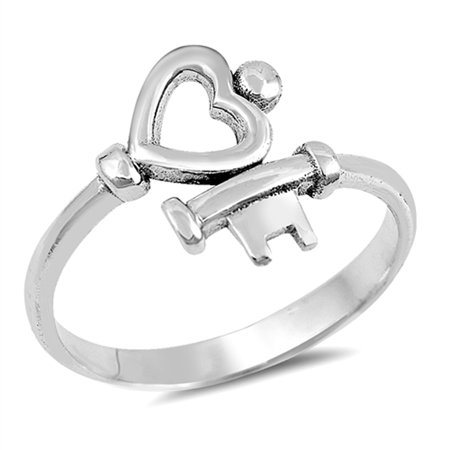 Heart Key Love Promise Ring New .925 Sterling Silver High Polish Band Size 8 925 Sterling Silver Key Ring