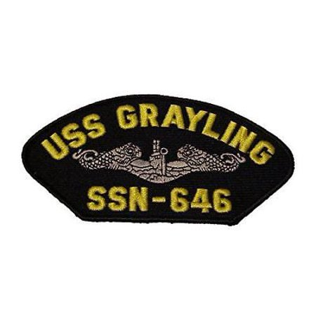 Dolphin Clasps - USN NAVY SHIP USS GRAYLING SSN-646 SILVER DOLPHIN PATCH STURGEON CLASS SUBMARINE