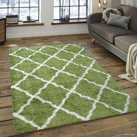 Allstar Modern Contemporary Moss High Pile Posh Shaggy Trellis Patterned Area Rug (7' 9