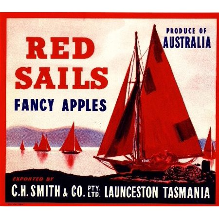 Launceston Tasmania Australia Red Sails Red Apple Fruit Crate Label Art Print