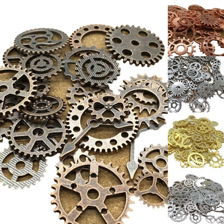 Steampunk Jewelry Supplies (Heepo 100g Vintage Cogs Jewelry Making DIY Alloy Steampunk Gear Pendant Crafts)