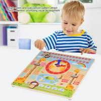 Learning Clock Toy,Ymiko Educational Wooden Clock Toy Kids Children Date Calendar Chart Preschool Learning Props