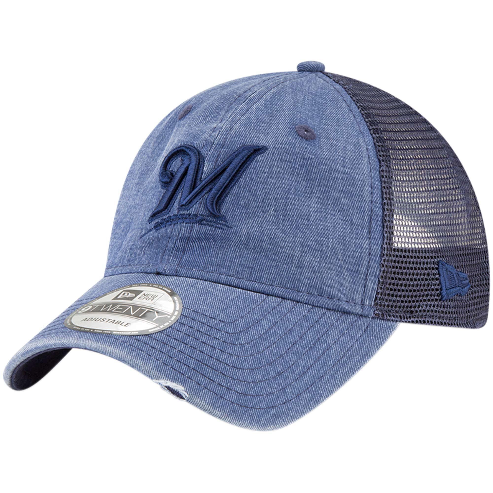 Milwaukee Brewers New Era Tonal Washed 9TWENTY Adjustable Hat - Navy - OSFA