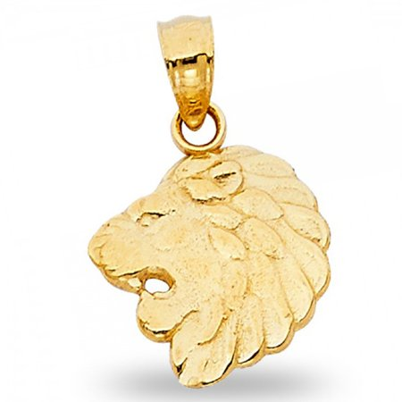 Lion Head Pendant Solid 14k Yellow Gold Leo Charm Zodiac Sign Polished Design Fancy 12 x 13 mm