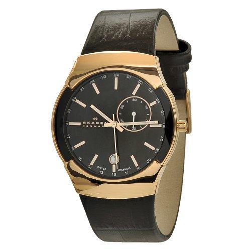 Skagen Men's 983XLRLDB Black Label Rose-Gold Plated Stainless Steel Case Watch