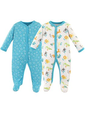 Luvable Friends Baby Boy Cotton Sleep N Play, 2-Pack