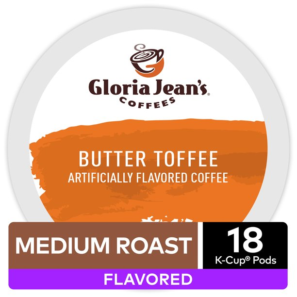 Gloria Jean's Coffee Butter Toffee Flavored K-Cup Pods, Medium Roast, 18 Count for Keurig Brewers