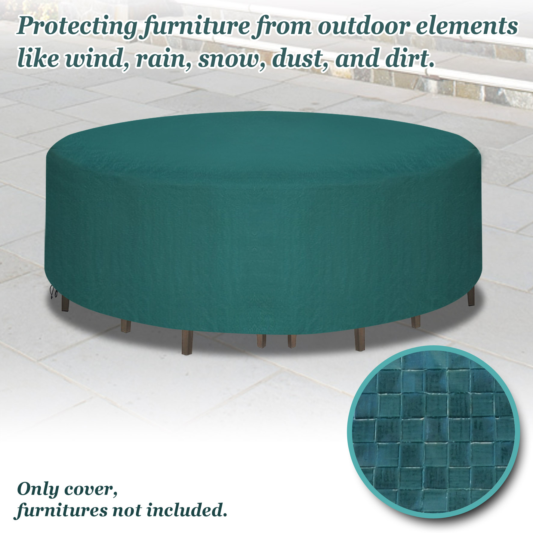 Sunrise Outdoor Garden Furniture Cover, Protection for Round Square Table and Chair Set - Green