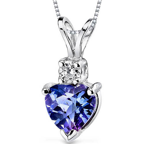 Oravo 1.00 Carat T.G.W. Heart-Shape Created Alexandrite and Diamond Accent 14kt White Gold Pendant, 18""