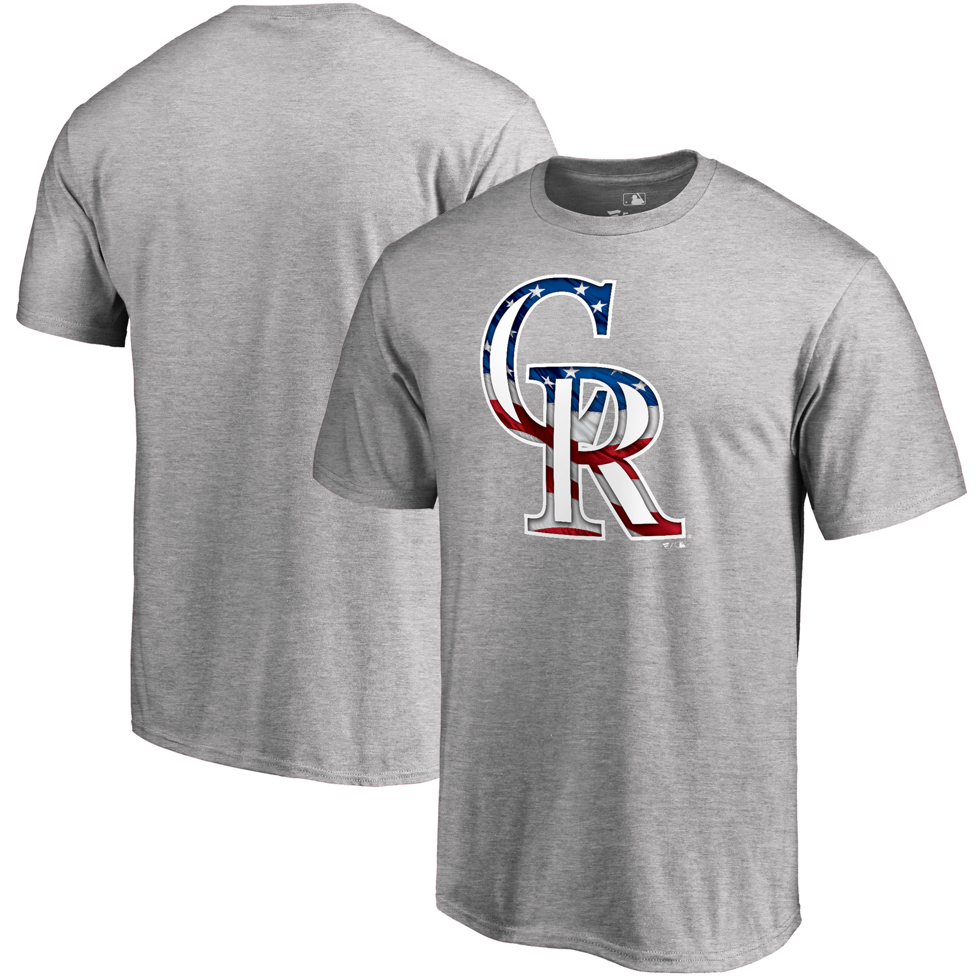 Colorado Rockies Fanatics Branded 2018 Stars & Stripes Banner Wave Logo T-Shirt - Heather Gray