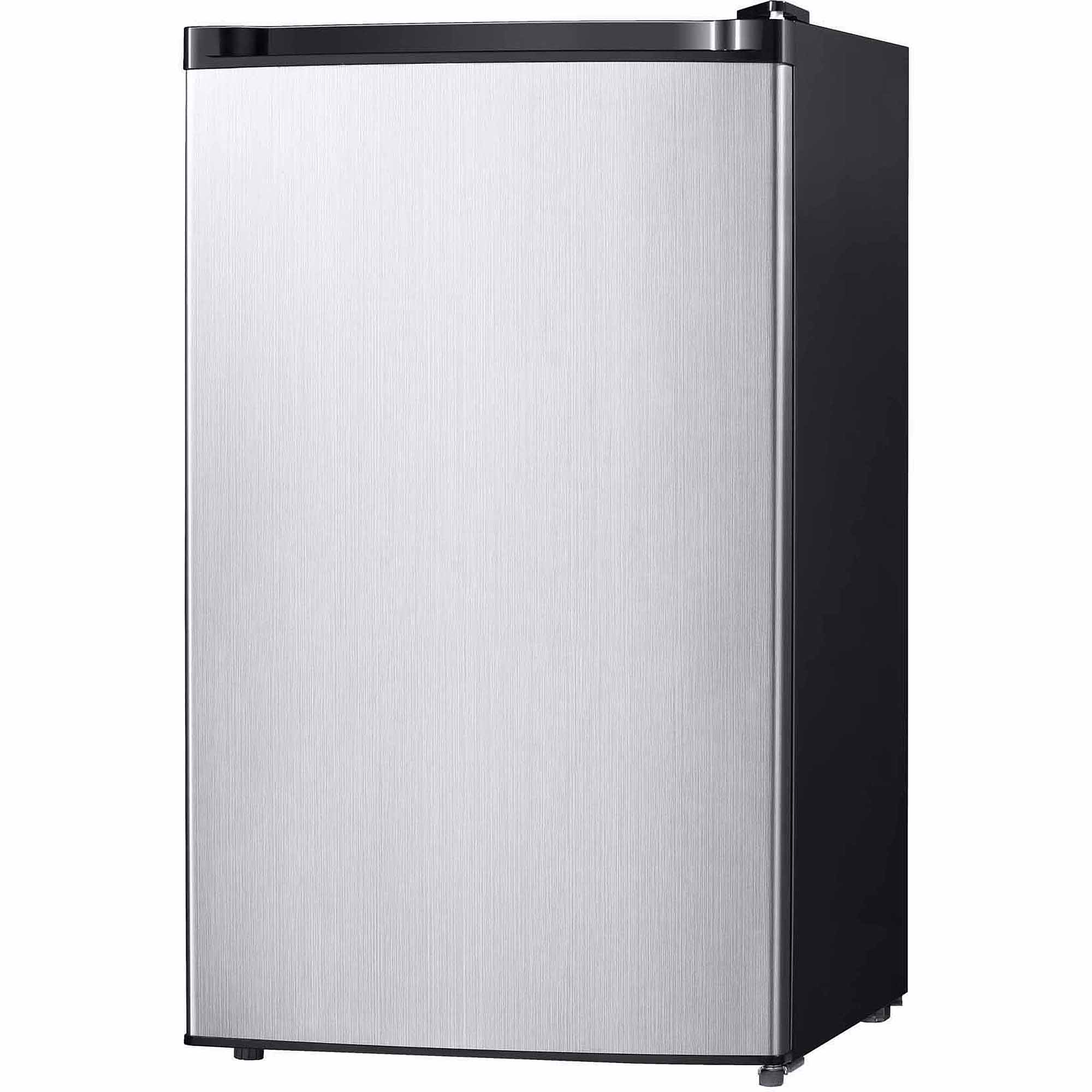 4.4 Cu. Ft. Free Standing Compact Refrigerator with Half-Width Chiller Compartment, Stainless Steel.