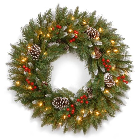 """30"""" Frosted Berry Christmas Wreath - Clear Lights Berry Christmas Wreath"""