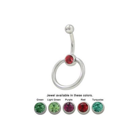 Navel Knocker (Door Knocker Belly Button Ring with CZ)