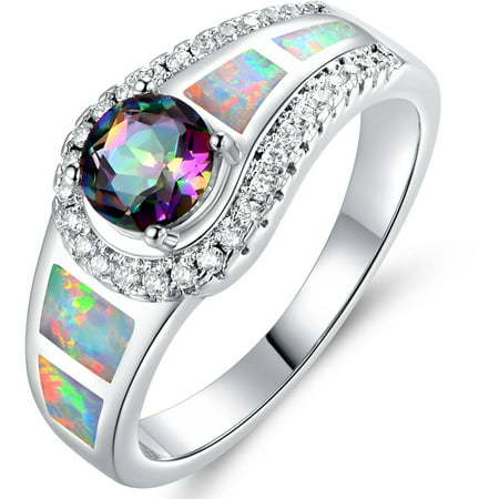 - Mystic Topaz and Opal 18kt White Gold-Plated Cocktail Ring