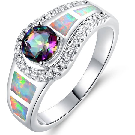 Mystic Topaz and Opal 18kt White Gold-Plated Cocktail Ring