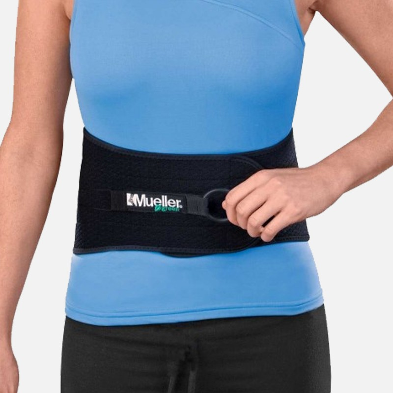 Mueller Green Adjustable Back and Abdominal Support, Black, One Size Fits Most
