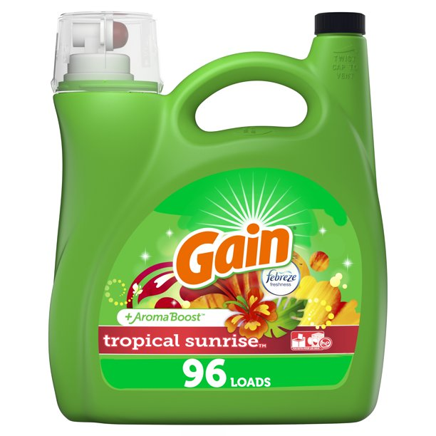 Gain Tropical Sunrise He 96 Loads Liquid Laundry Detergent 150 Fl