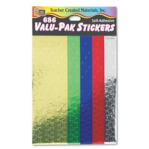 Teacher Created Resources Valu-pak Foil Stars Sticker - Red, Blue, Gold, Green, Silver (6644)