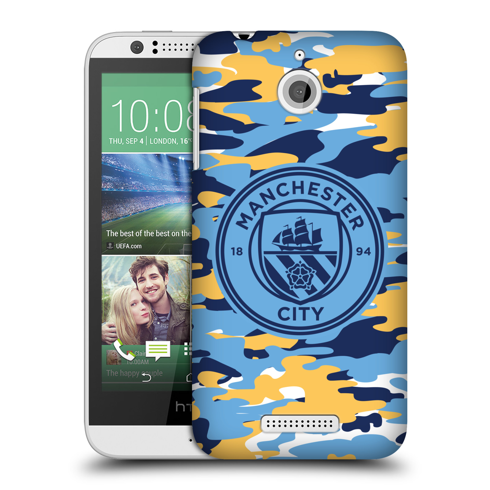 OFFICIAL MANCHESTER CITY MAN CITY FC BADGE CAMOU HARD BACK CASE FOR HTC PHONES 2