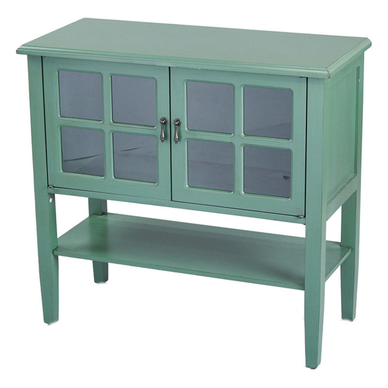 Heather Ann Creations Vivian Paned Glass Console Cabinet