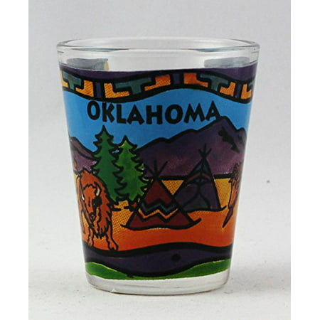 Oklahoma Hand Painted Design Photo Process Clear Shot Glass rtp